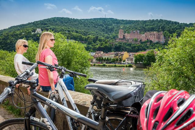 Neckartal-Radweg mit Schlossblick Heidelberg